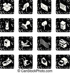 Poste service icons set grunge vector