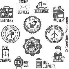 poste, servicio, etiqueta