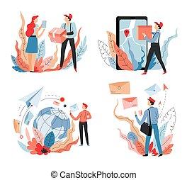 poste, shopping, deliverer, entrega, online, despacho, transporte, correio