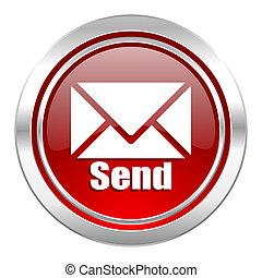 poste, sinal, ícone, envie