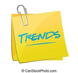 poste, tendencias, diseño, memorándum, ilustración