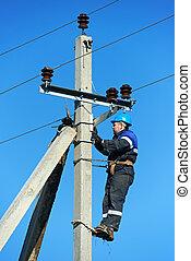 poste, trabajo, electricista, delantero, potencia
