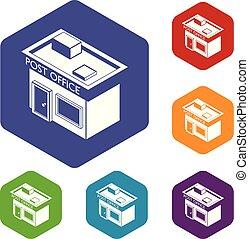 poste, vecteur, hexahedron, icônes bureau