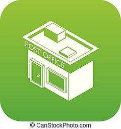 poste, vecteur, vert, bureau, icône