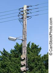 poste, viejo, eléctrico