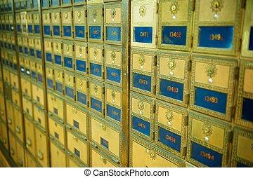 poste, vieux façonné, bureau, boîtes
