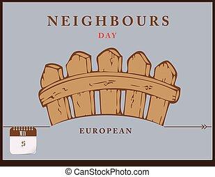 poste, vizinhos, dia, cartão, europeu