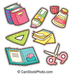 posten, schule, satz, set., verschieden