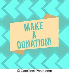 poster., カラー写真, 空白のサイン, ストリップ, (どれ・何・誰)も, 発表, スタイル, 寄付, もの, 作りなさい, 折られる, needed, テキスト, 概念, 寄付しなさい, もっと, 平ら, 使われた, 提示, ない, 旗, donation.