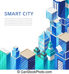 poster., ベクトル, 都市の景観, 都市, イラスト, skyscrappers, 痛みなさい, 都市, 等大, 背景, 未来派, city.