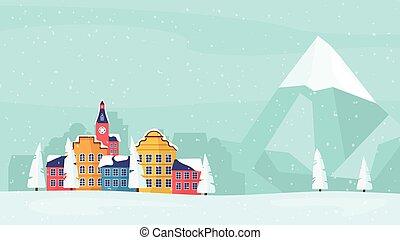 poster., 冬, 家族, カード, 休日, 旗