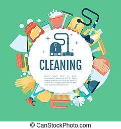 poster., 图标, 房子, 家庭, 矢量, 打扫, 样板, 家, 服务, 提供