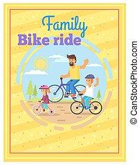 poster., 家族, カラフルである, 一緒に, 自転車, 乗馬
