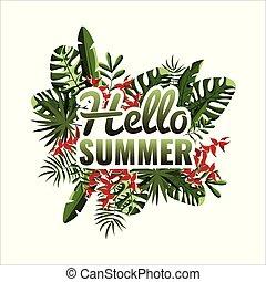 poster., 葉, バックグラウンド。, やし, パーティー, summer., こんにちは