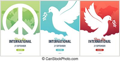 poster., 21, september., paix, international, olive, branch...