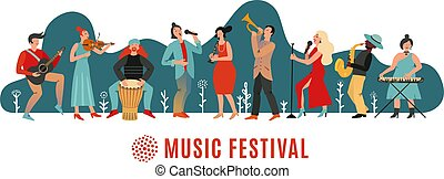 poster., achtergrond, gebeurtenis, musici, festival.,...