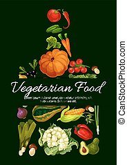 poster., alimento, vegetariano, cultive fresco, vegetales
