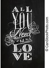 Poster all you need is love chalk - Poster lettering all you...