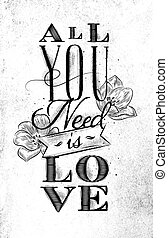 Poster all you need is love - Poster lettering all you need...