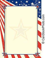 poster, amerikaan, frame