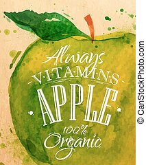 Poster apple - Poster watercolor apple lettering always...