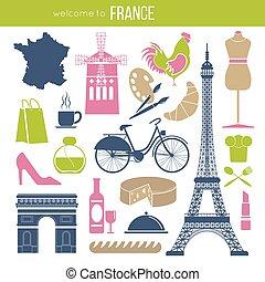 poster., atracciones, señales, francia, famoso, vector, ...