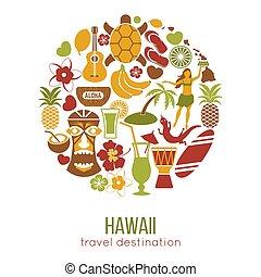 poster., attractions, repères, hawaï, célèbre, vecteur, voyage, tourisme