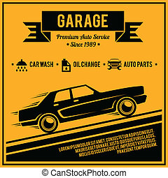 Poster auto service - Auto mechanic service retro style car...