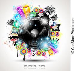 poster, bakgrund, elements., klubba, disko, internationell,...