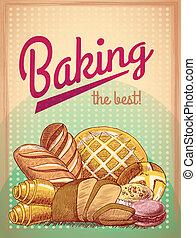 poster, bakken, gebakje, best