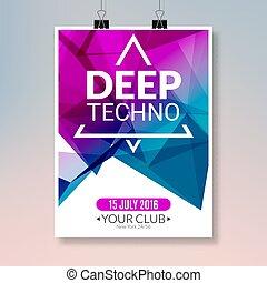 poster., ballo, aviatore, profondo, randello disco, techno, musica, sagoma, notte, bandiera parte, evento, design.