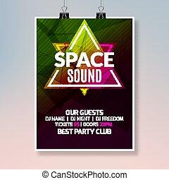 poster., ballo, casa, randello disco, aviatore, musica, sagoma, notte, bandiera parte, evento, design.