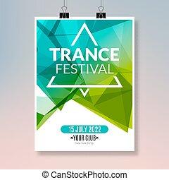 poster., ballo, trance, randello disco, aviatore, musica, sagoma, notte, bandiera parte, evento, design.