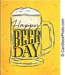 Poster beer day yellow