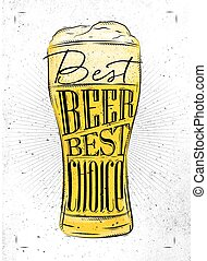 Poster beer glass lettering best beer best choice drawing in vintage style with coal on paper background