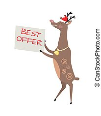Poster Best Offer Held by Deer on White Background
