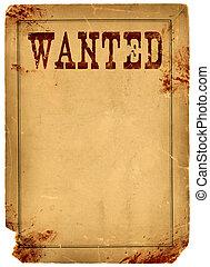 poster, bevlekte, bloed, west, wild, gevraagd, 1800s