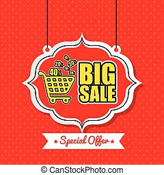 poster big sale shop cart vintage red polka dot