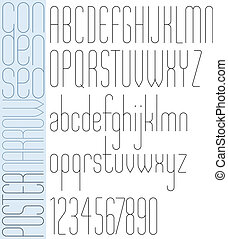 Poster black slim condensed narrow font and numbers.