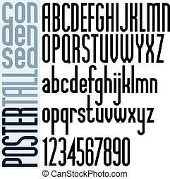 Poster black tall condensed font and numbers on white...