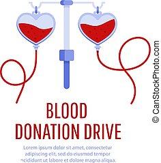 poster, bloed, ontwerp, schenking, besturen