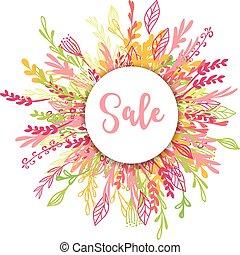 poster, bloemen, verkoop, begroetende kaart