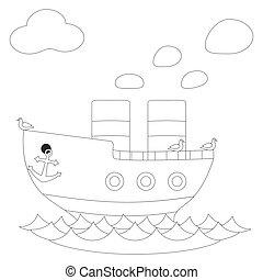 poster., branca, vetorial, pretas, retro, navio, vapor