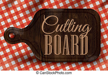 Poster bread cutting brown wood