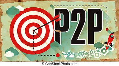 poster., business, concept., p2p, grunge, mot