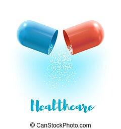 poster, capsule, ontwerp, geneeskunde, open, pil, 3d