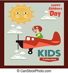 poster., card., universel, -, salutation, illustration, enfants, arrière-plan., vecteur, flat., heureux, jour, rond, frame.