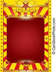 poster, circus, goud