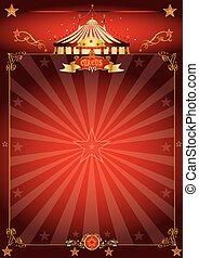 poster, circus, magisch, rood