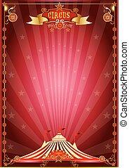 poster, circus, rood, tonen